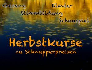 Herbstkurse zu Schnupperpreisen. Unterricht für Gesang, Schauspiel, Klavier und Stimmbildung. Einzelunterricht
